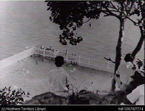 Lameroo Baths. View from the cliffs above - baths built early in Darwin's history, rebuilt by U S personnel circa 1941. (NT Library)