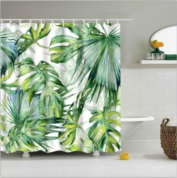 Green Tropical Palm Leaf Shower Curtain Waterproof Fabric 12hooks 71 106inches Tropical Shower Curtains Leaf Curtains Palm Leaves