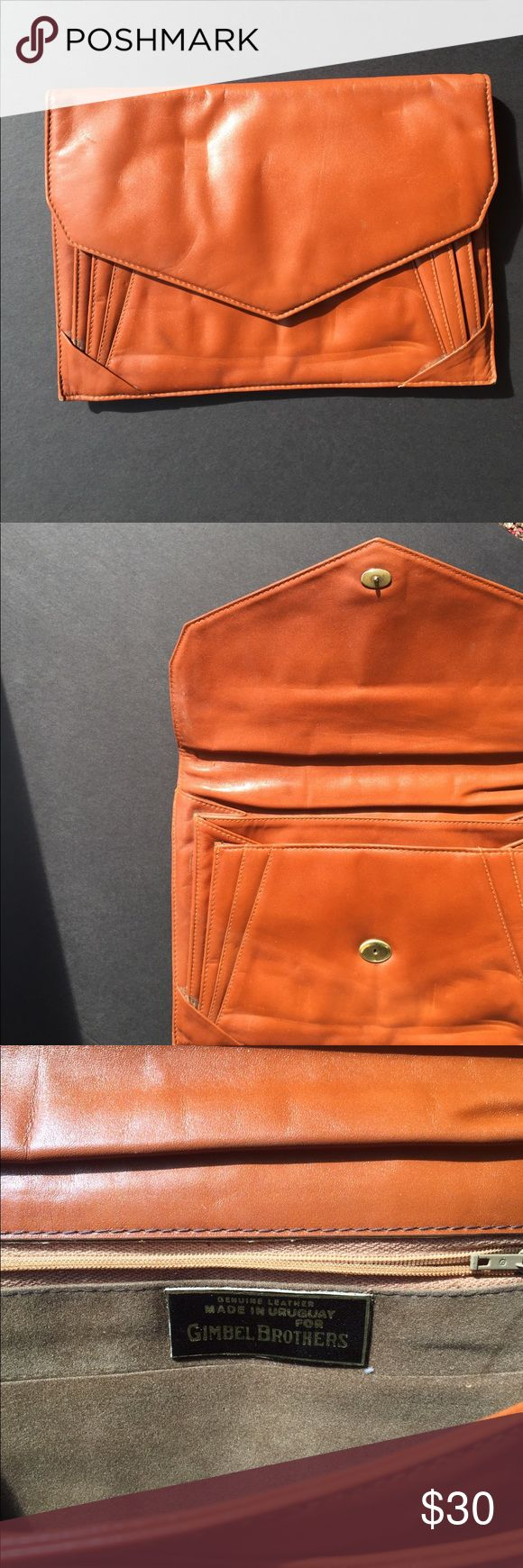 """VINTAGE Brown Leather Clutch Excellent used condition. Rage reads """"made in Uruguay for Gimbel Brothers"""". One small area where stitching is loose (pictured). Very cute! Vintage Bags Clutches & Wristlets"""