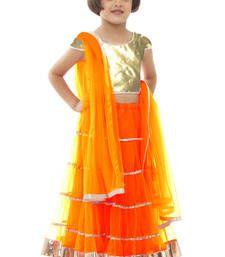 Buy Orange net plain kids lehenga kids-lehenga-choli online