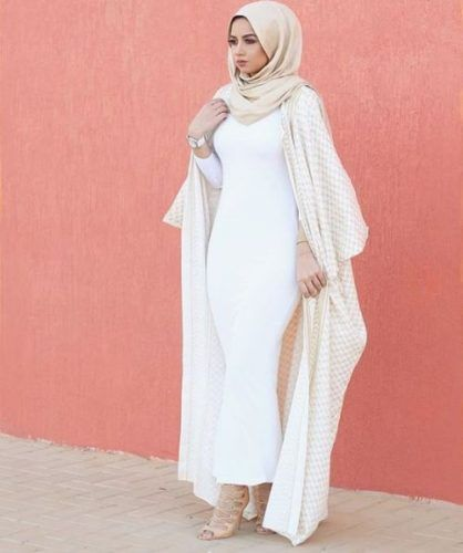 abaya and tube dress hijab outfit- Neutral hijab outfit ideas http://www.justtrendygirls.com/neutral-hijab-outfit-ideas/