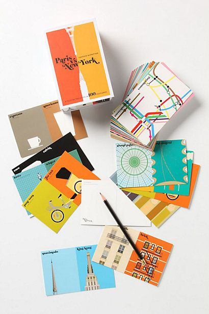 paris vs. new york postcard set | anthropologiePostcard Design, Postcards Design, National Postcards, Little Birds, Postcards Sets, York Postcards, New York, Modern Postcards, Newyork