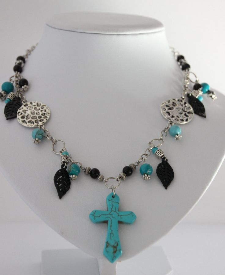 Exclusive beaded and chain necklace with blue cross and an appealing mix of black, aqua and antique silver. Free delivery in Australia by 4Dignity on Etsy