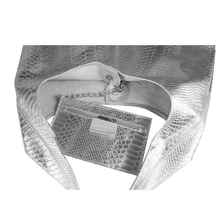 . OBC MADE IN ITALY DAMEN LEDER HAND-TASCHE METALLIC Shopper Schultertasche Hobo-Bag Henkeltasche Beuteltasche Silber (Schlange)