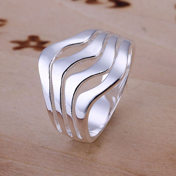 free shipping 925 jewelry silver plated ring,high quality , Nickle free,antiallergic Water Waves Ring junr dzdx