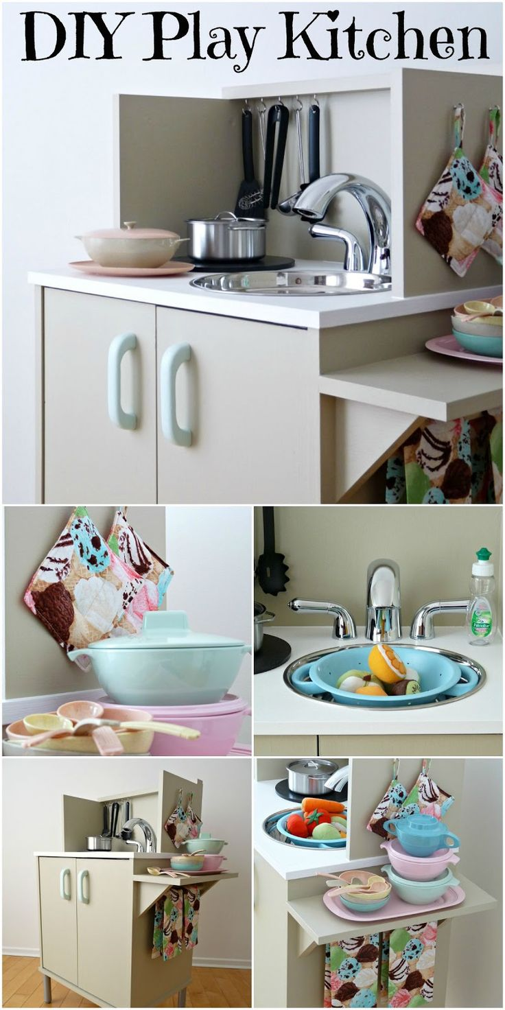 How to make an affordable play kitchen from an old microwave stand. A great toy for kids that doesn't clash with your home's decor!