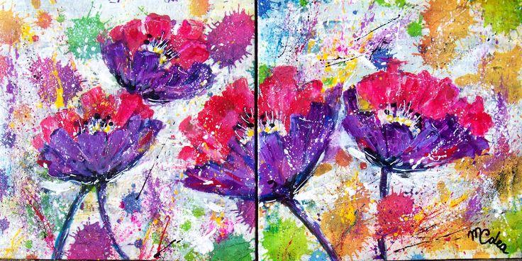 """""""Fantasia floreale"""" due tele 20x20. acrilico by MCDea"""