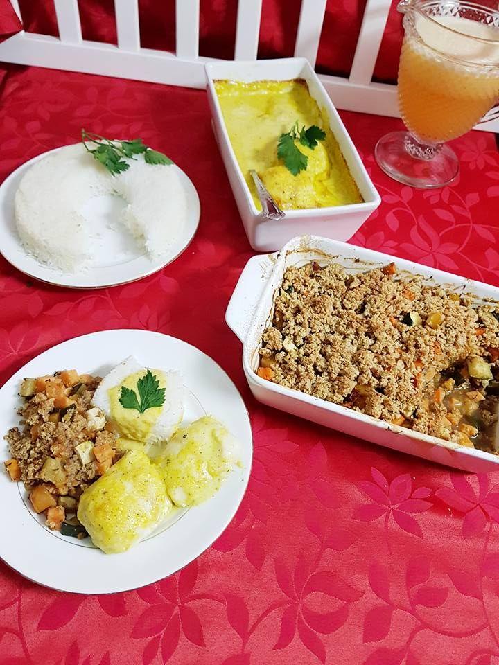 Creme de cenoura com leite de coco e caril e lombos de pescada com molho mournaye arroz -  cozinhar em pirâmide 3 em 1. Mais duas rec...