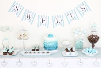 Blue Ombre Dessert Table <3 See More Cute Dessert Table Ideas at www.CarlasCakesOnline.com