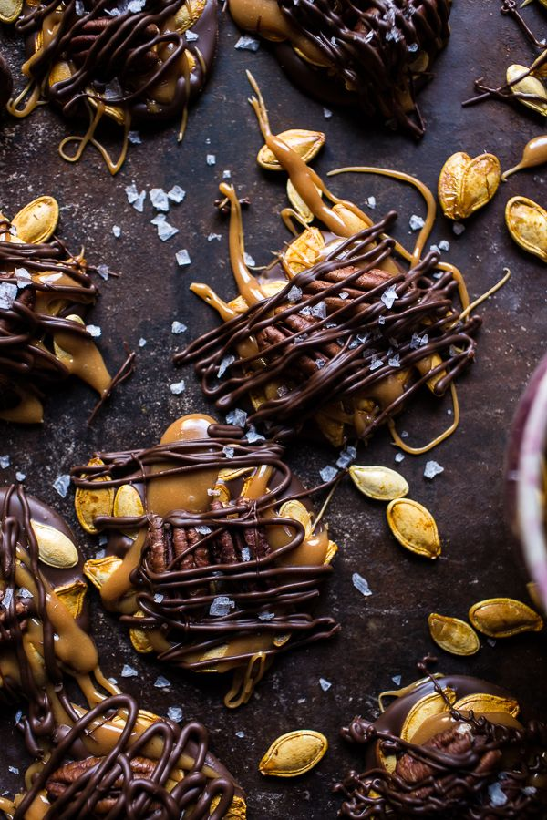 Chocolate Covered Roasted Pumpkin Seed Turtle Clusters | halfbakedharvest.com @hbharvest