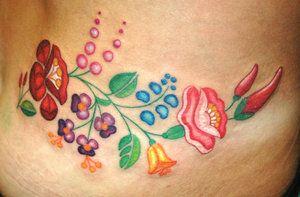 Folk Art type flower tattoo