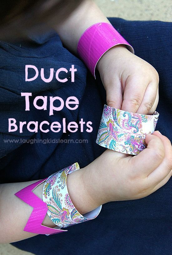Duct tape bracelets or cuffs for kids to make at home or in the classroom.