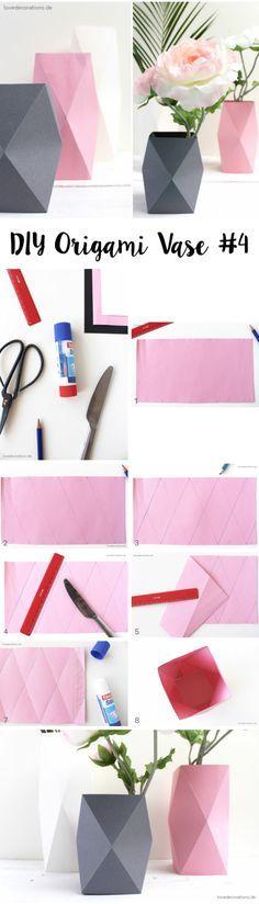 DIY Origami Vase #4 aus Tonpapier falten Mehr