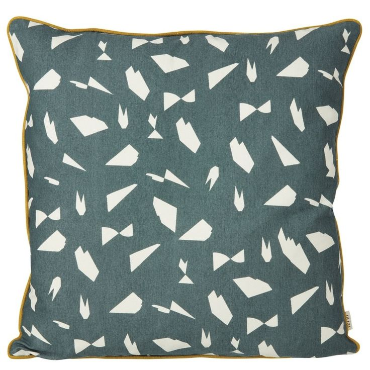 Mini Cut cushions are NEW for SS16. Beautiful screen printed by hand onto quality organic cotton. Sure to spice up your sofas, chairs & bedrooms, this abstract design of cut paper styled white pieces against a warm and rich green background are accented by the warm mustard yellow piping detail around the edge of each cushion