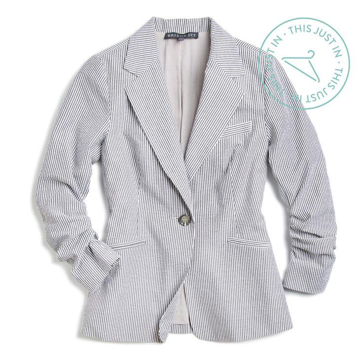This Just In! Channel a summer clambake in this seersucker blazer that adds instant prep to your favorite sundress. (Joann Seersucker Blazer)