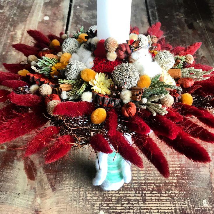 lumanare de botez cu flori uscate #burgundy #wool #baptism #babygirl concept Alexandra Crisan | Aleksandra -atelier floristic