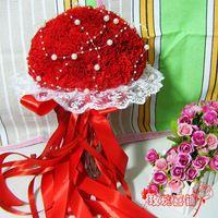 2015 Red Garden chegam novas dama de honra de casamento flores artificiais pérolas adornadas Lace acentos buquês de noiva