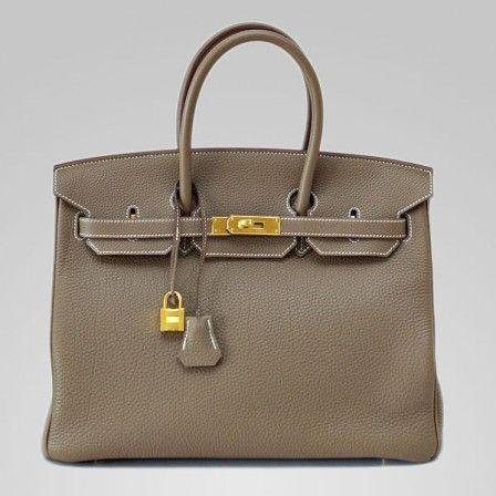 cheap birkin replica - 35cm Hermes Birkin Etoupe Taurillon clemence Leather gold Hardware ...