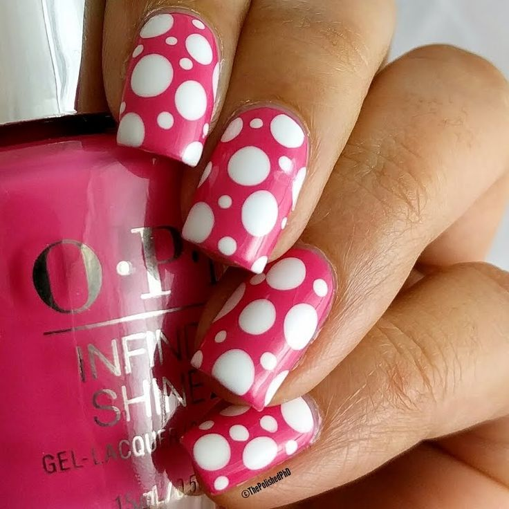 Preen.Me VIP ThePolishedPhd shows off this ultra preppy dotticure using her gifted OPI Infinite Shine 2 Icons Nail Lacquer in Strawberry Margarita. Explore your #InfiniteOptions by clicking through.