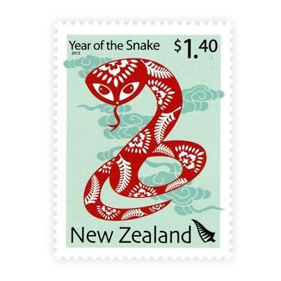 Poštová známka 2013 z Nového Zélandu na tému Čínsky Nový rok.