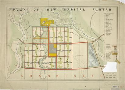 Le Corbusier chandigarh plan - Capital city of Punjab built in 1953. Planned as a living organism and based on 4 mayor functions; living, working, care of the body & spirit, and circulation.