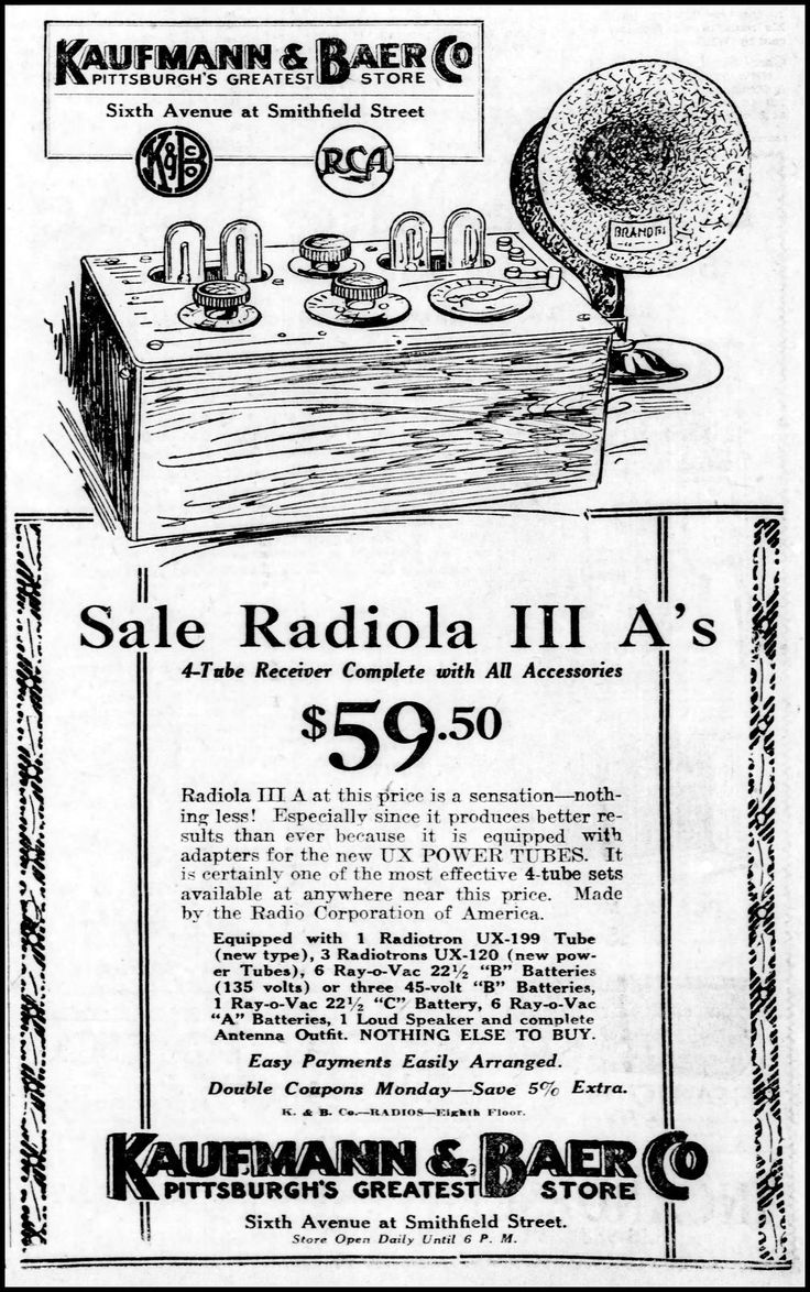 Vintage Newspaper Advertising For The Radiola III A 4 Tube Radio Receiver  In The Pittsburgh Pennsylvania Post Gazette, December 20, 1925 | Retro  Furniture