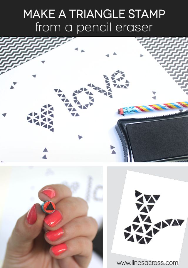"""""""Lines Across"""": Make a Triangle Stamp from a Pencil Eraser"""
