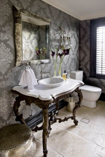 Scale of pattern and colors, gray with pale gold, sink, vanity,  Photographed by Simon Kenny.