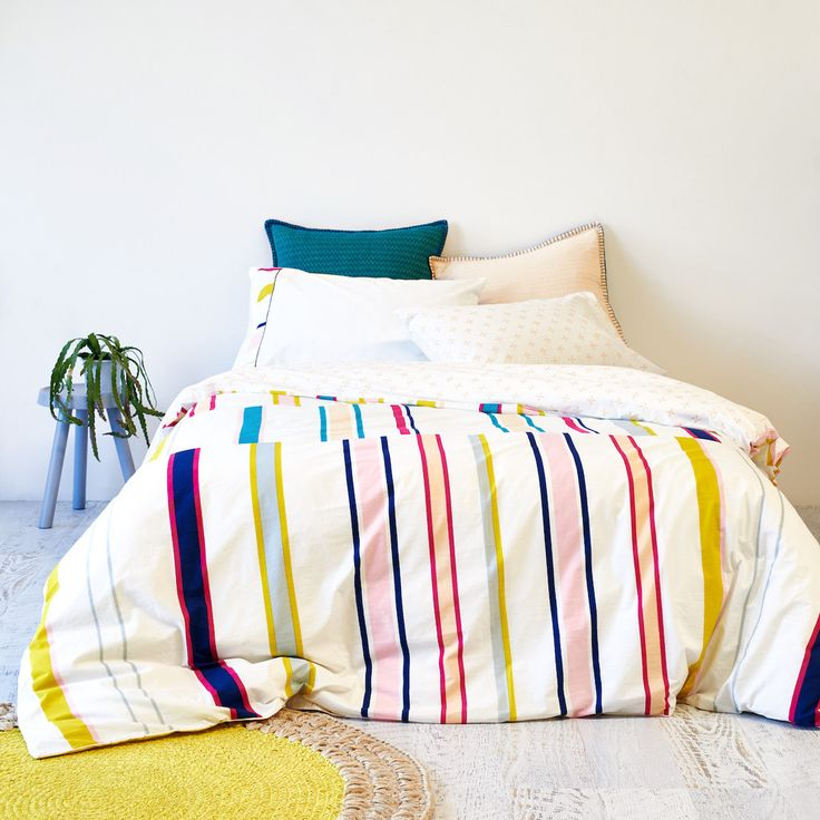 Hand Printed Stripe and Nude Cross Reversible Quilt Cover