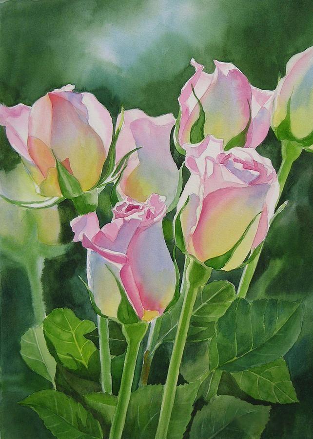 Rose Array Watercolor--artist Sharon Freeman