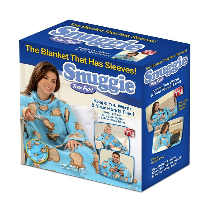 Snuggie Fleece Blanket with Sleeves.Hands free - use phone, remote, laptop Oversized sleeves - stay wrapped in warmth Super large - one size fits all Perfect for outdoor events Now with pockets