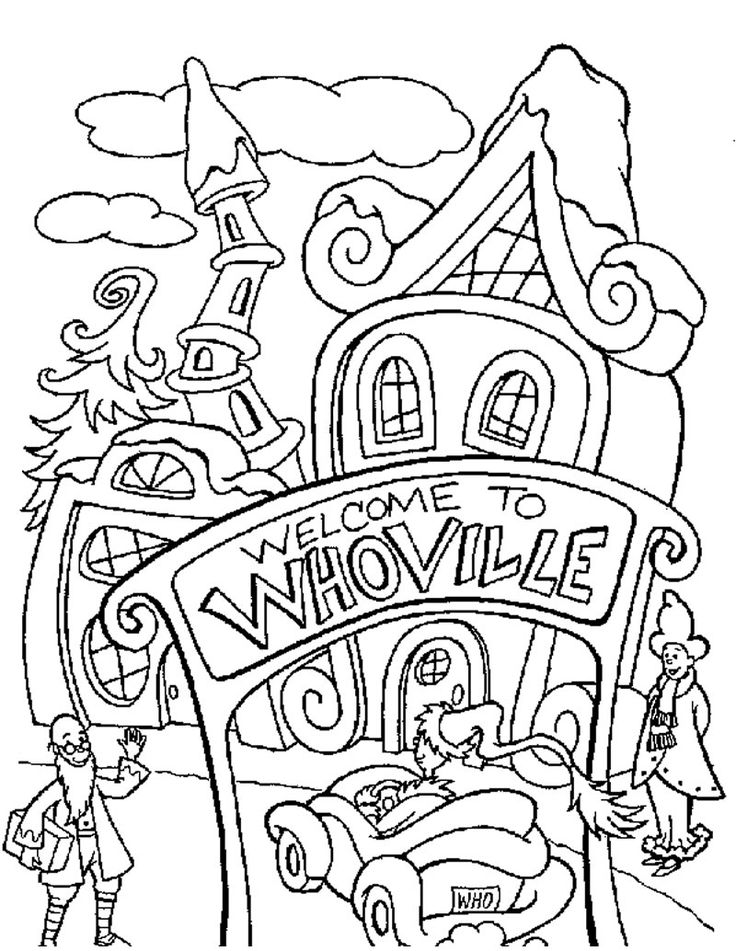 christmas village houses coloring pages - photo#7