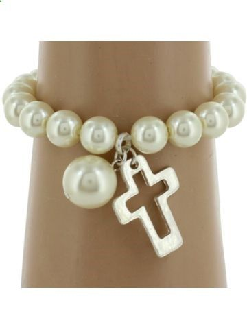 Silvertone Cut-Out Cross and Pearl Bead Bracelet