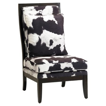 Faux Cowhide Accent Chair With Birch Wood Framing. Product: Chair  Construction Material: Solid