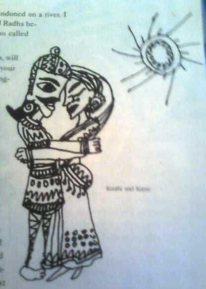 Kunti and Karna as Surya looks on.
