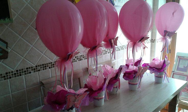 Centro tavola palloncino Comunione Fucsia Lilla Rosa con farfalle