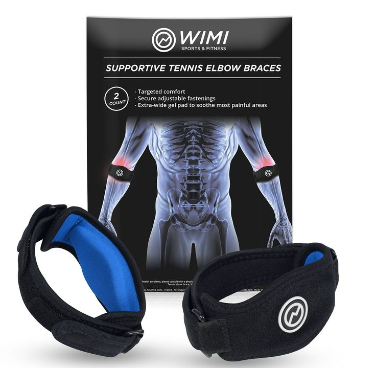 2-Pack Tennis Elbow Brace with Compression Pad by WIMI Sports - Best Tennis and…