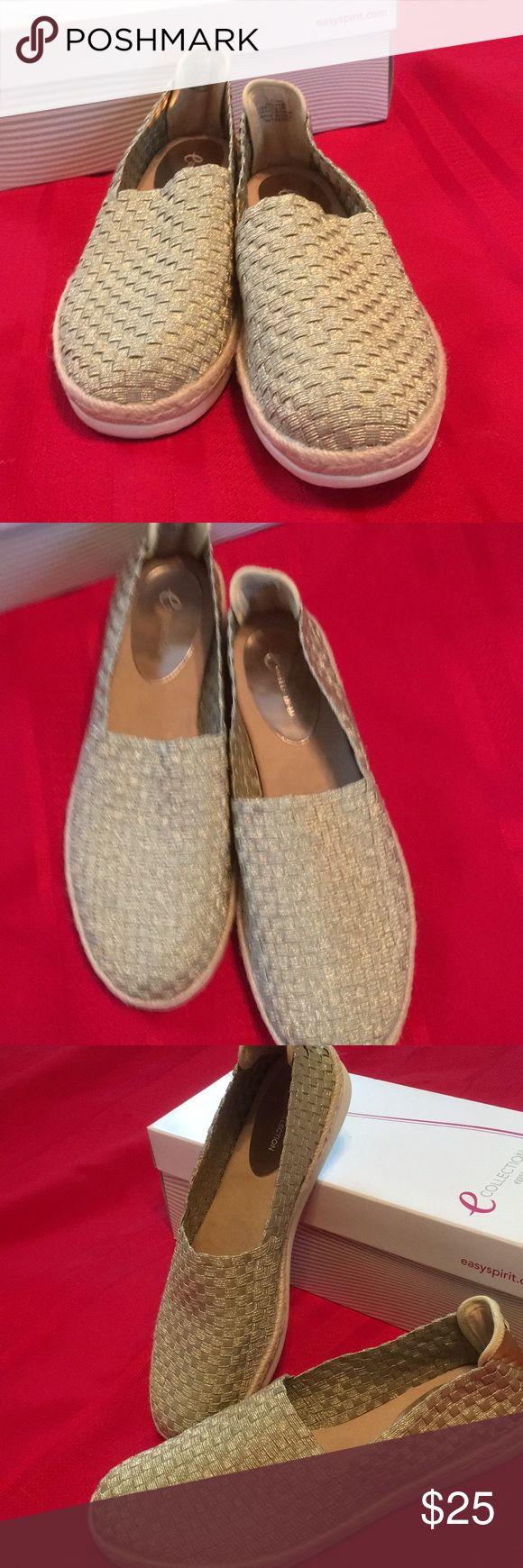 Easy Spirit  shoes Woven gold metallic slip on shoes brand new never worn Easy Spirit Shoes