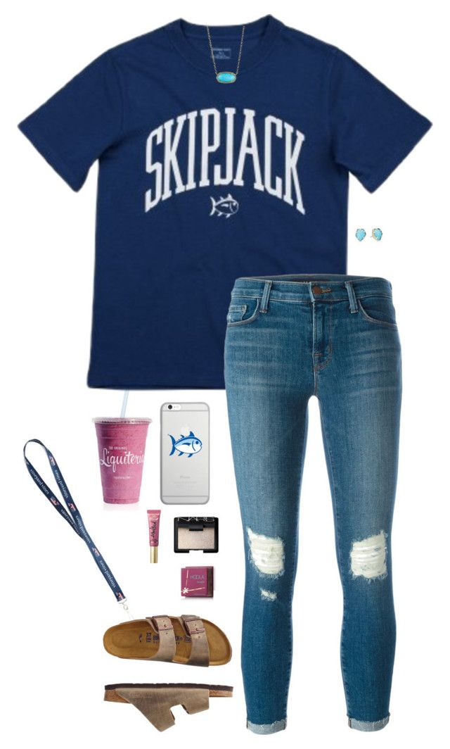 """""""School"""" by halledaniella ❤ liked on Polyvore featuring J Brand, Native Union, Southern Tide, Kendra Scott, NARS Cosmetics, Too Faced Cosmetics, Hoola and TravelSmith"""