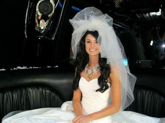 """Bubble veil, Ivory wedding veil, Ivory bubble veil with train  Seen in """"Style Me Pretty"""" blog"""