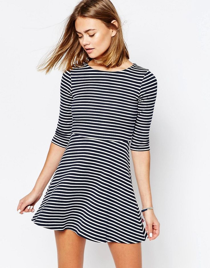 Striped fit and flare--so cute but way too short!