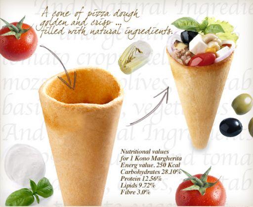 Pizza 'icecream' cone. A normal pizza in a fun, new jacket. (NL)