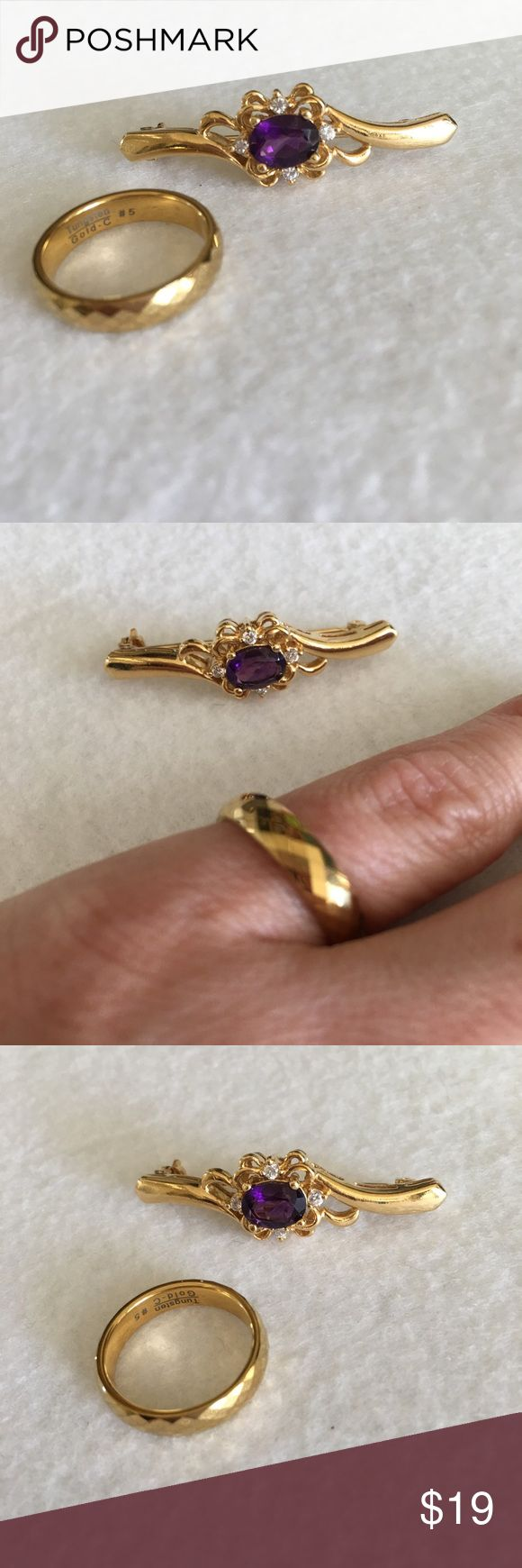 "Gold ring & pin set amethyst Tungsten faceted Ring & pin set ✨ Tungsten size 5 gold plated faceted stamped ring ✨ gold plated pin with amethyst and 4 cz cubic zirconia diamonds ✨ pin is slightly over 1.5"" long ✨ so pretty ! Tungsten Jewelry Rings"
