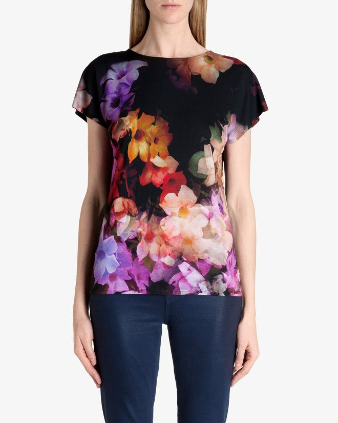 Cascading floral T-shirt - Black | Tops & T-shirts | Ted Baker UK