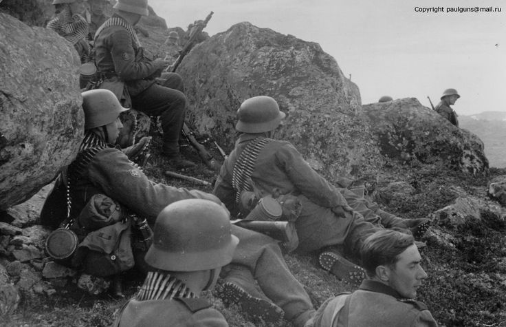 """2nd Company/I. Battalion/136th Regiment during Operation Platinfuchs. These men await there impeding assault on the Soviet held, Hill 122, also known as """"Radfahrberg"""". They are commanded by Obersleutnant Hans Wolf Rode. 30th June, 1941."""