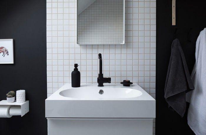 Une salle de bain en noir et blanc hus och inspiration for Decormag salle de bain