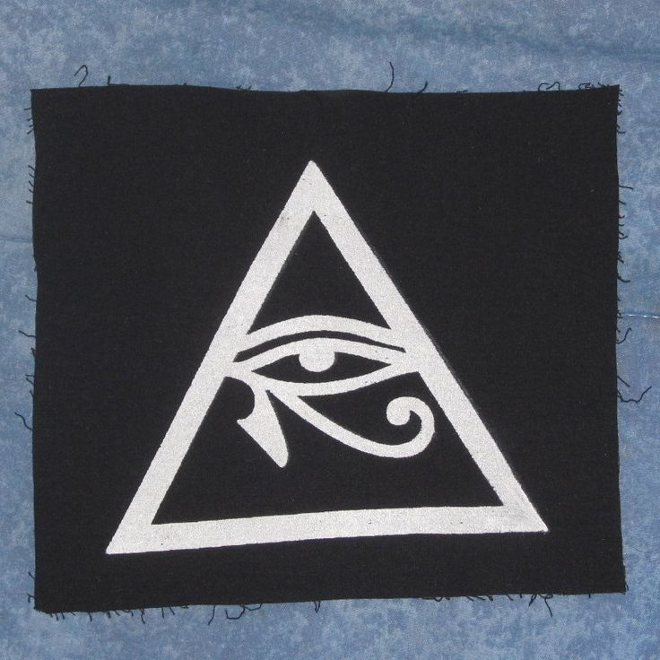 Illuminati Symbol Eye of Horus in Triangle Patch, Large - White On Black - occult patches, punk, conspiracy all seeing pyramid providence. $5.00, via Etsy.