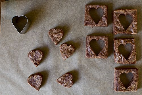 Smitten Kitchen Brownies - 40 minute brownies (the semi-sweet chocolate version is great by itself - hearts are cute but not necessary)