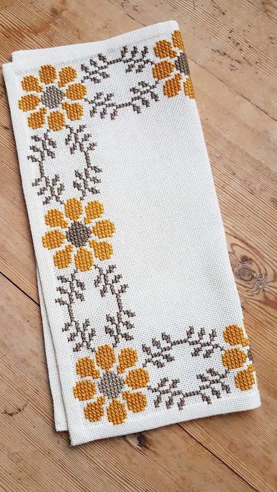 Beautiful floral/autumn cross stitch embroidered tablecloth in white ...