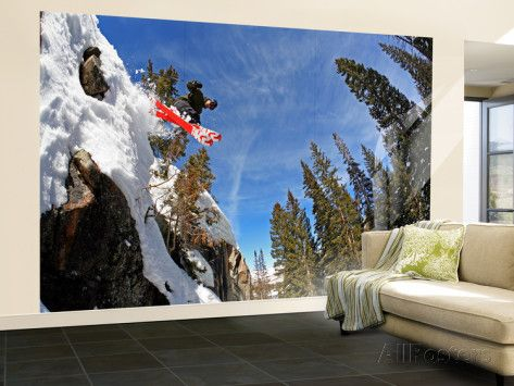 Skier Jumping Off Small Cliff at Brighton Ski Resort Wall Mural – Large by Paul Kennedy at AllPosters.com